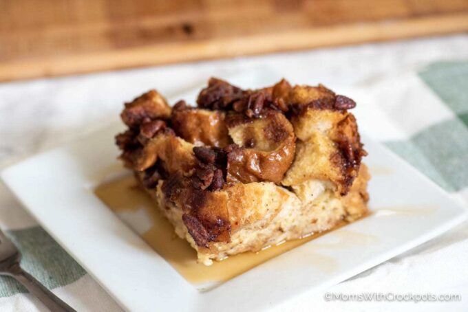 Crockpot French Toast Casserole with maple syrup