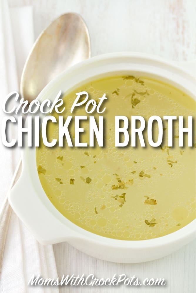 THE BEST CHICKEN BROTH!! Make your crock pot do all the work. Make a huge batch of this Crock Pot Chicken Broth Recipe and freeze the extras! Great for soups, dinners, and more!