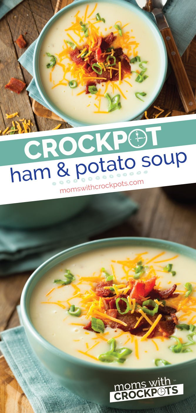 The best way to use up leftover ham! This Crockpot Ham and Potato Soup Recipe is hearty, creamy, and delicious! Everyone will love it! | @MomsWCrockpots #recipes #crockpot #slowcooker #ham #soup #dinner