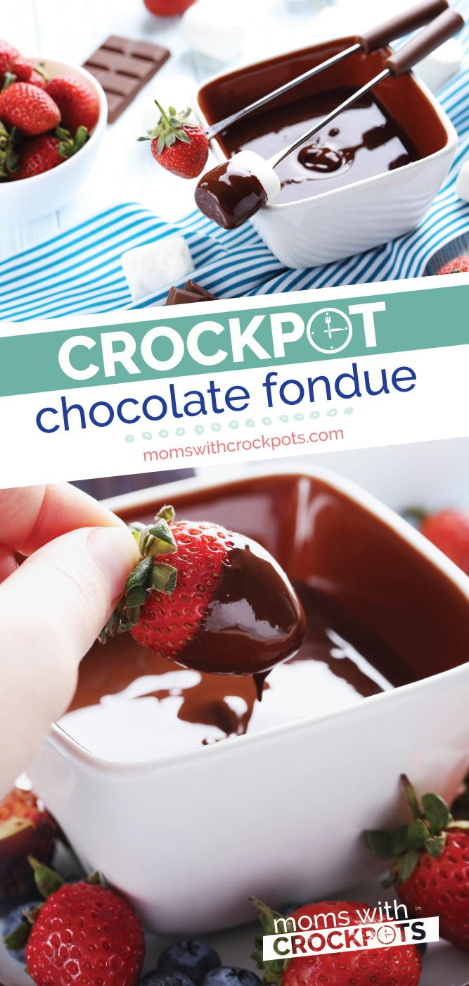 A perfect way to end the day! Try this delicious Crockpot Chocolate Fondue Recipe for date night and with your favorite dip ins.  | @MomsWCrockpots #recipes #dessert #chocolate #slowcooker #crockpot #glutenfree