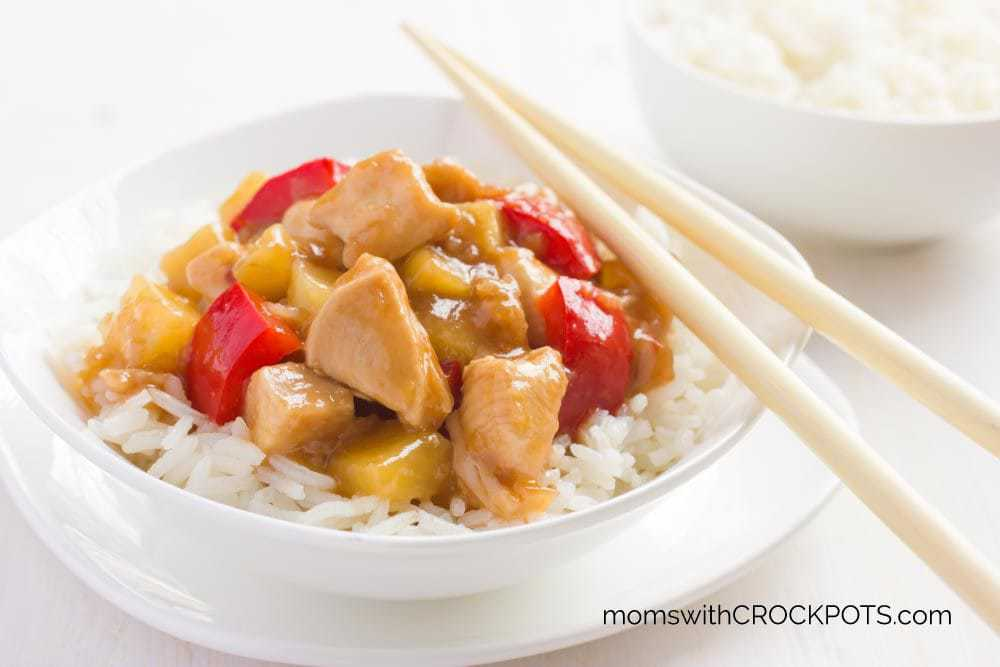 Super easy slow cooker dinner for those busy nights! Skip take out and make this Crockpot Sweet & Sour Chicken Recipe instead!