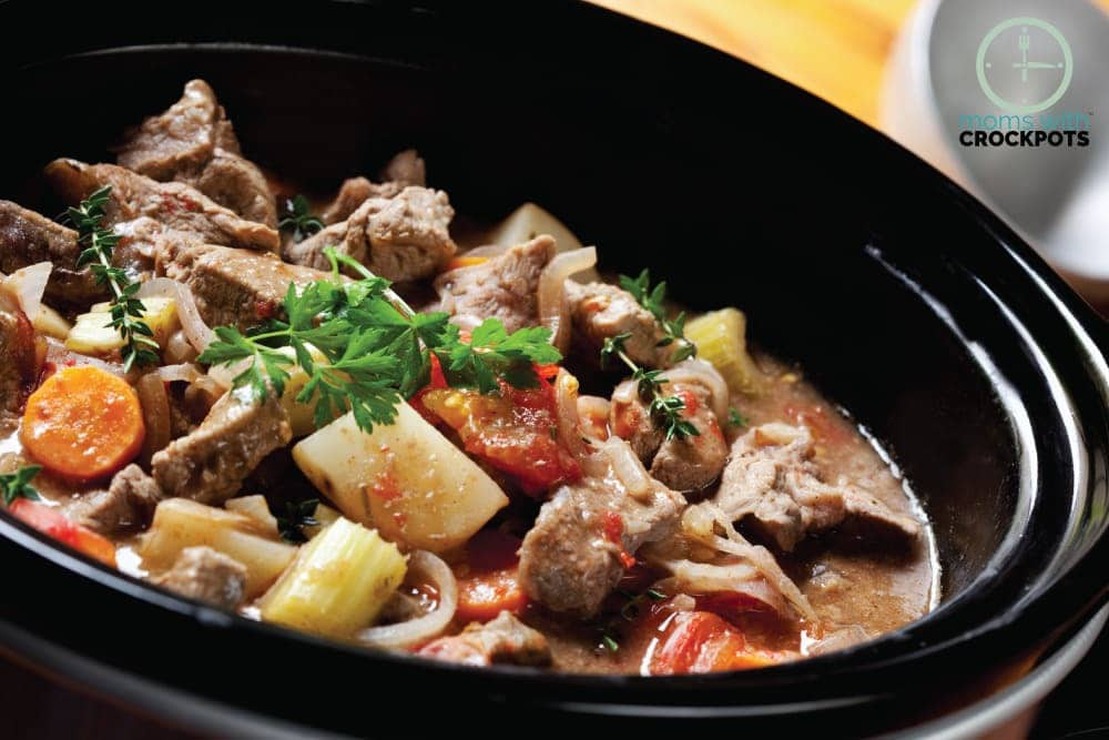 This Crockpot Beef Stew Recipe is made with wholesome ingredients and the perfect dinner option for a busy but chilly night of the week. Serve with warm crusty bread! YUM!