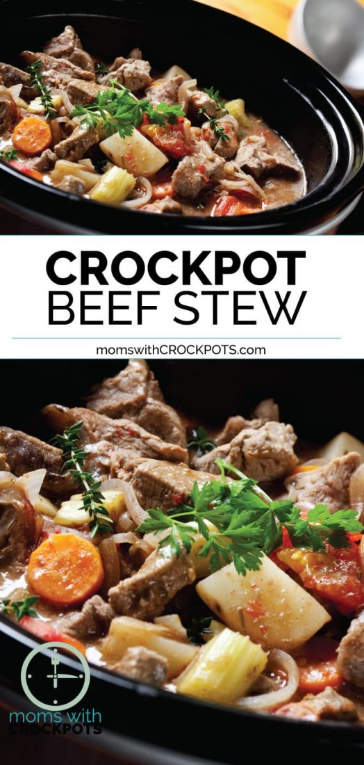 This Crockpot Beef Stew Recipe is made with wholesome ingredients and the perfect dinner option for a busy but chilly night of the week. Serve with warm crusty bread! YUM! #Crockpot #Slowcooker #dinner #beef