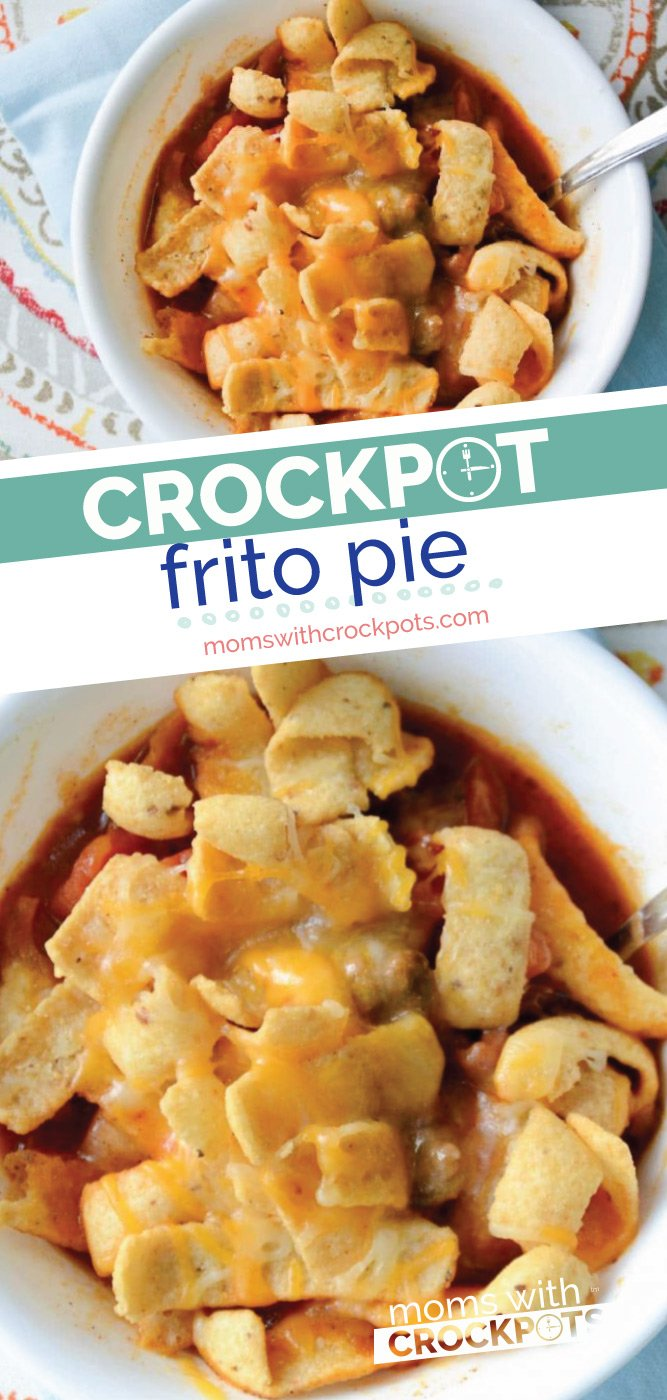 Kid-friendly, mom approved. You have to try this yummy Crockpot Frito Pie Recipe for dinner tonight!  Pull out your slowcooker for this classic meal. | @MomsWCrockpots #kidfriendly  #crockpot #recipes #dinner #slowcooker