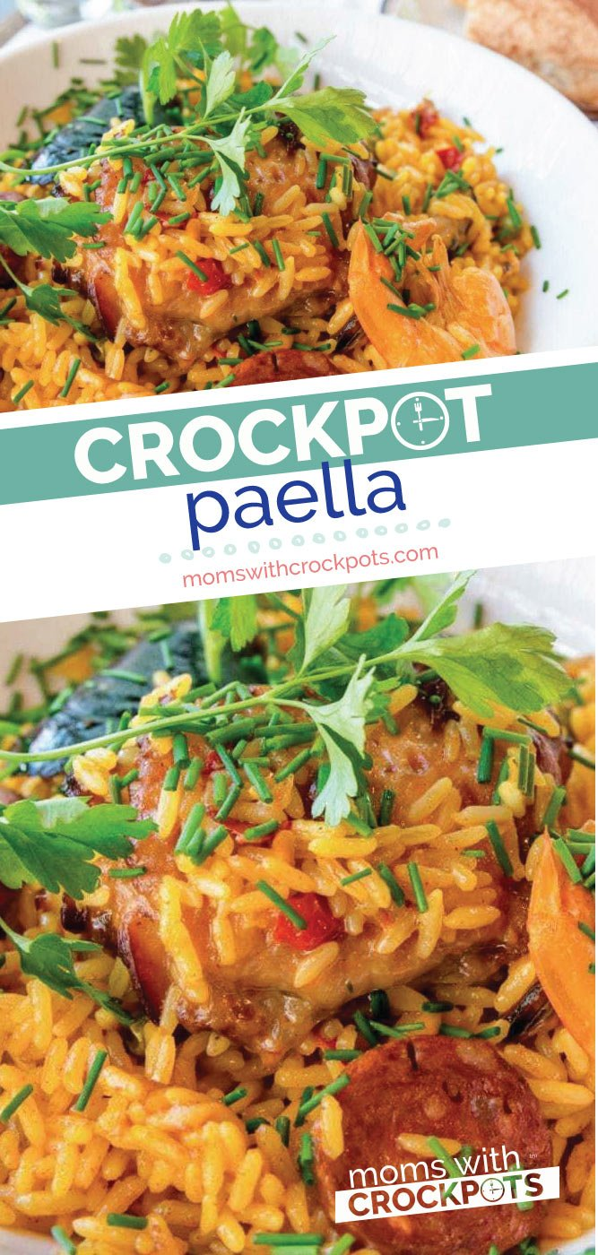 No Spanish restaurant needed. Make this yummy Crockpot Paella today and enjoy the rich flavors of the Mediterranean right in your own kitchen! | @MomsWCrockpots #recipes #dinner #crockpot #slowcooker