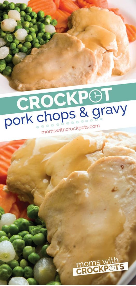 Tender and full of flavor! This simple Crockpot Pork Chops & Gravy Recipe is perfect with a side of mashed potatoes any night of the week for dinner. #crockpot #slowcooker #dinner #pork