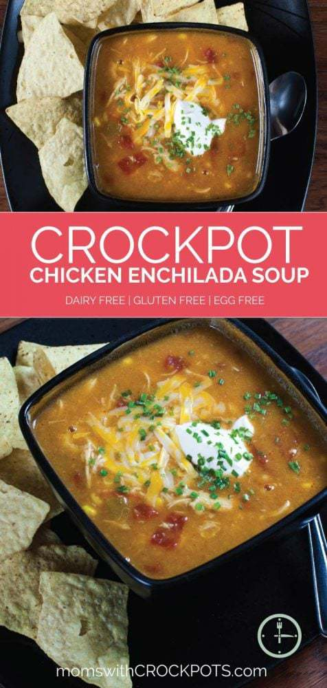 Pull out your slow cooker and get ready for a great dinner idea! Try this Crockpot Chicken Enchilada Soup Recipe. Gluten Free and Dairy Free options!