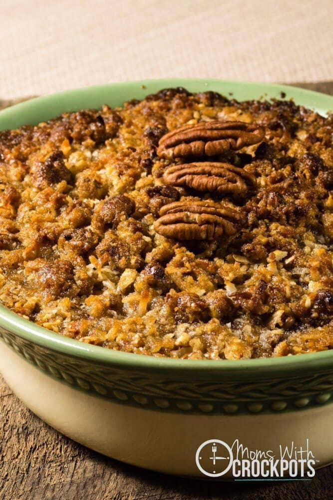 Make room in the oven and try this Crockpot Sweet Potato Casserole Recipe for your next holiday!