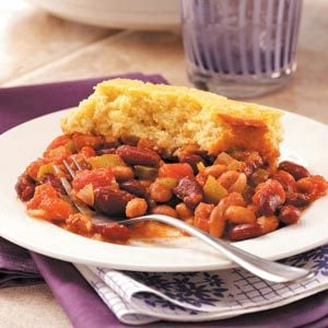 Corn Bread Topped Frijoles