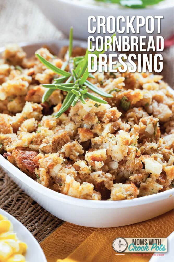 Save room in the oven and make this Crockpot Cornbread Dressing Recipe!  Perfect for the holidays
