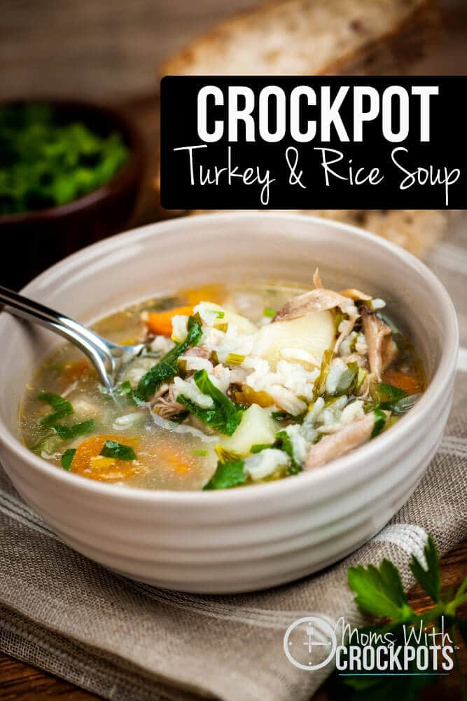 Use up those leftovers! This Crockpot Turkey & Rice Soup Recipe is a delicious option!