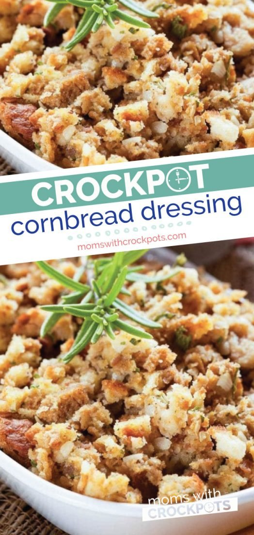 Save room in the oven and make this Crockpot Cornbread Dressing Recipe! Perfect for the holidays | @MomsWCrockpots #crockpot #slowcooker #recipes #thanksgiving #holidays #sidedish