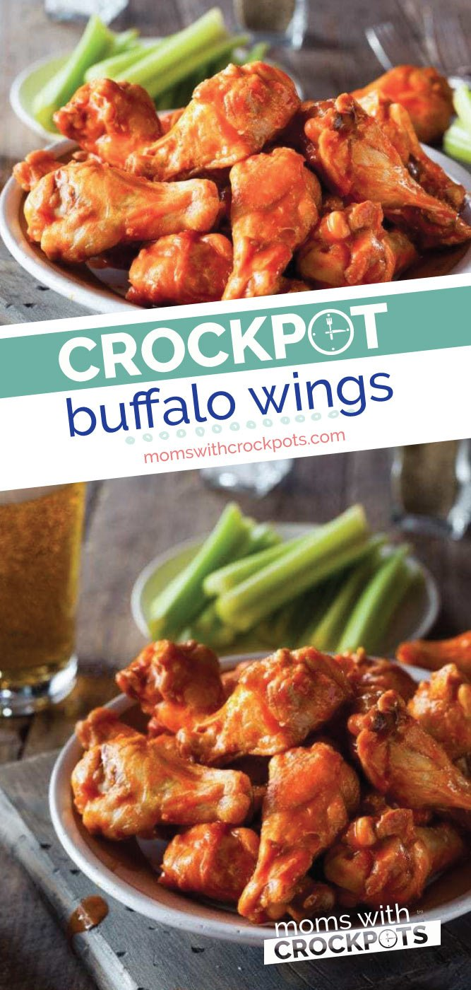 Game Day or any day is a perfect time to make this Crockpot Buffalo Wings Recipe! Full of flavor, less mess, and convenient! | @MomsWCrockpots #recipes #appetizer #crockpot #slowcooker #chicken