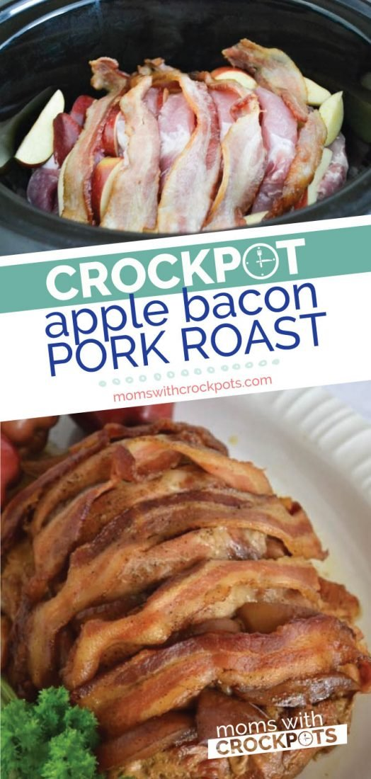 This Crockpot Apple Bacon Pork Roast Recipe is so simple, yet looks so elegant on the table. Plus it is kid friendly. The entire family will love it! | @MomsWCrockpots #crockpot #slowcooker #pork #dinner #glutenfree