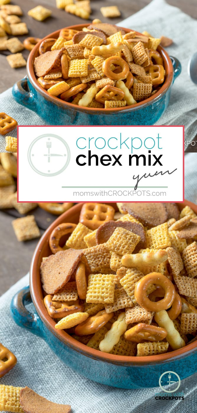 Don't turn on the oven! Pull out your slow cooker and make this Homemade Crockpot Chex Mix Recipe! Great for game day, snacking, and gift giving! #crockpot #gameday #recipes