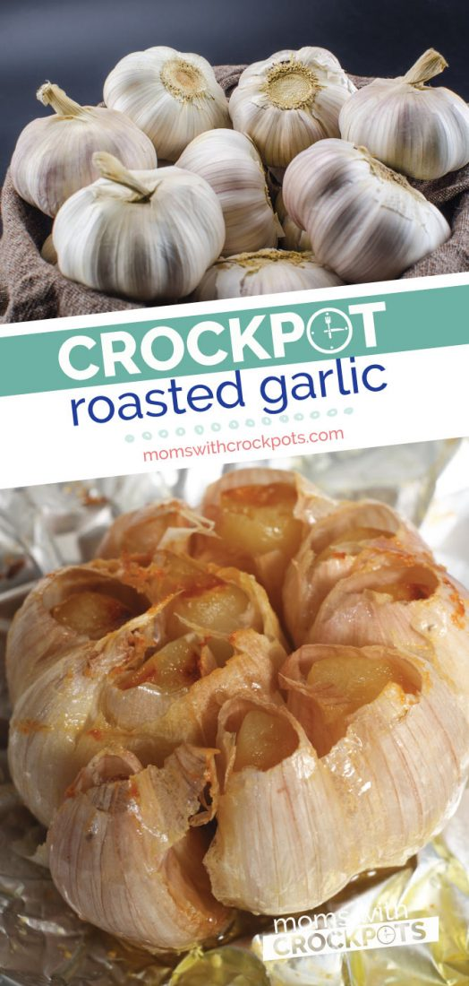 Love Roasted Garlic?! Make it simply in the slow cooker! With this insanely simple Crockpot Roasted Garlic Recipe | @MomsWCrockpots #recipe #garlic #appetizer