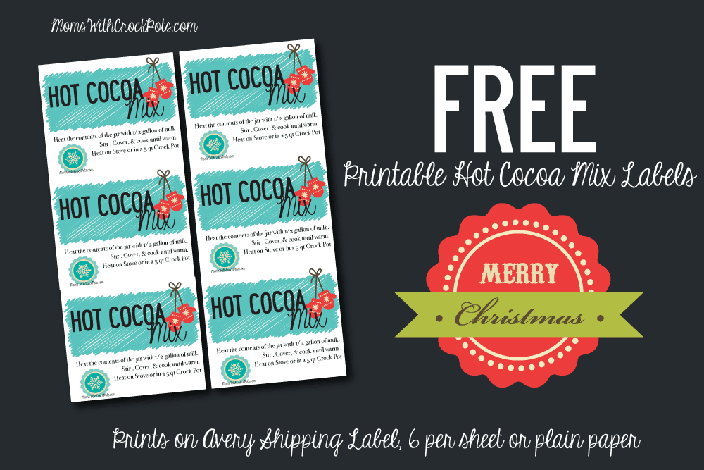 Such a great gift idea! Make and give these Crock Pot Hot Cocoa Gift Jars plus there are FREE Printable Gift Labels to go with it!