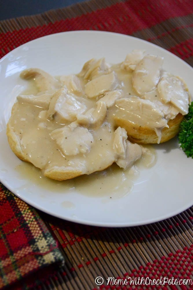 Simple, figure friendly, and delicious Crock Pot Chicken & Gravy Recipe. Amazing over some fresh biscuits or rice.