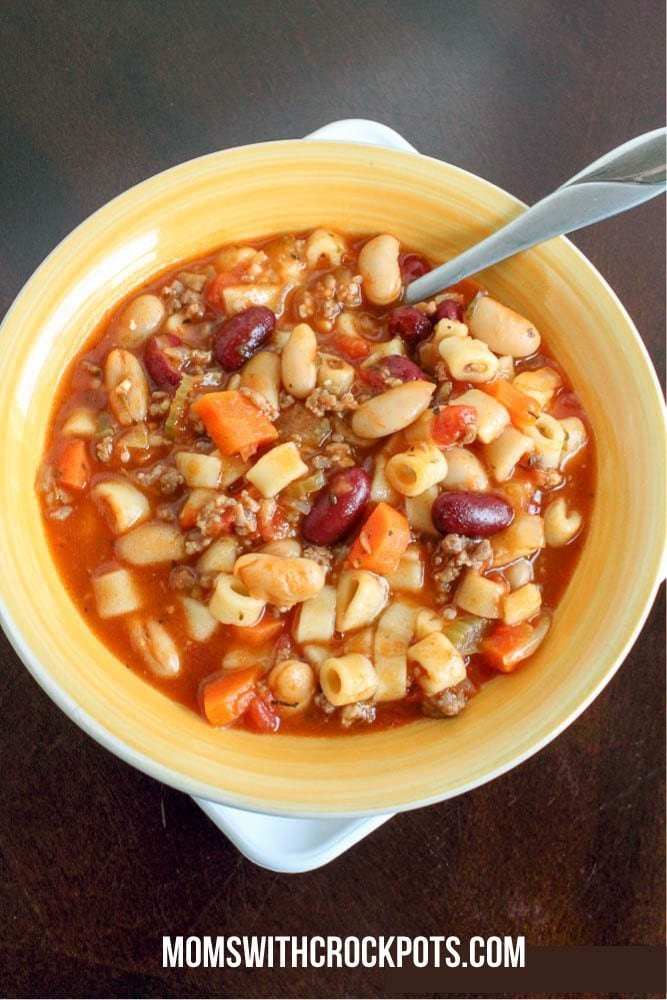Warm up on a cold day with this Copy Cat Olive Garden Favorite! Try this simple Crock Pot Pasta e Fagioli Soup recipe