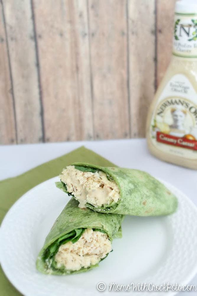 Super Easy Crock Pot Chicken Recipe. Great for lunch or a quick dinner! Try this Crock Pot Caesar Chicken Wraps Recipe