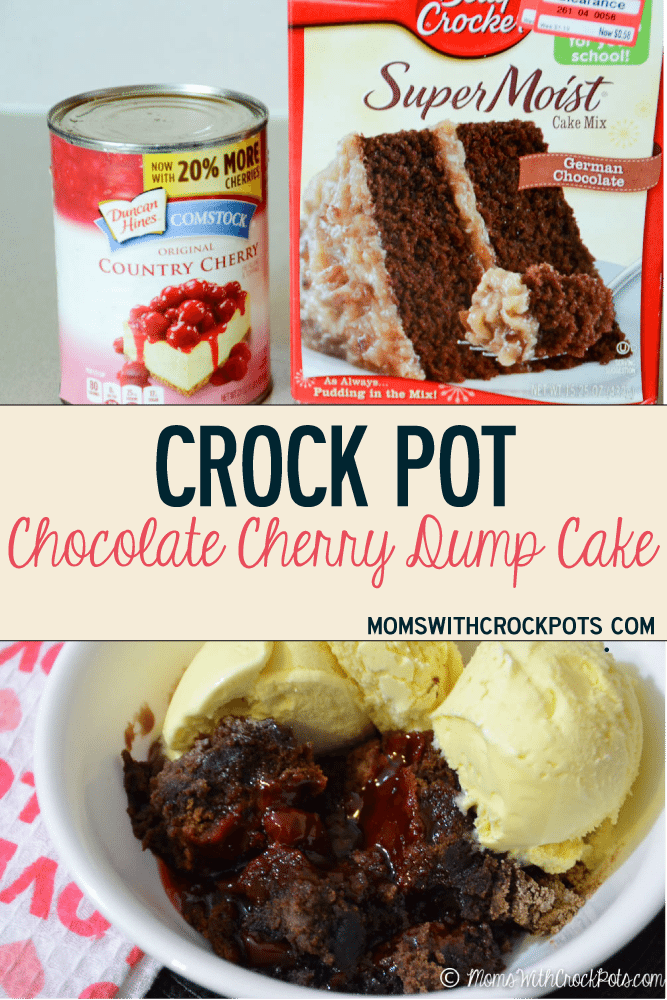 A delicous dessert for any night of the week. Try this yummy Crock Pot Chocolate Cherry Dump Cake Recipe. Can be made gluten free and dairy free if needed.