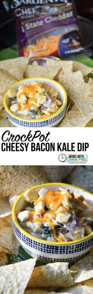 OH MY YUM! This CrockPot Cheesy Bacon Kale Dip is the best use of Kale I have ever seen. Check out this amazing recipe! @SargentoCheese #Choppedathome #ad