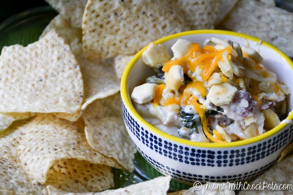 CrockPot Cheesy Bacon Kale Dip - Moms with Crockpots