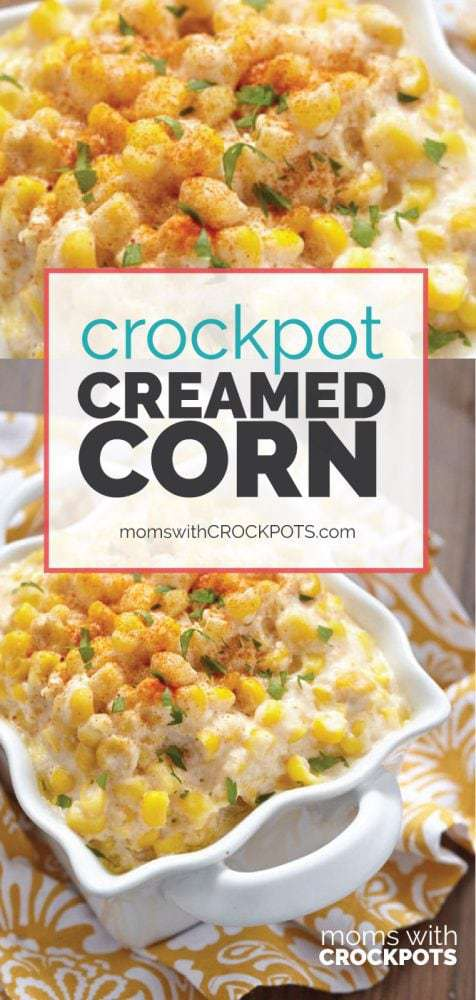 A classic side dish made in the crock pot! Check out this Crockpot Creamed Corn Recipe! Always a family favorite! Simple to make this slow cooker side dish.