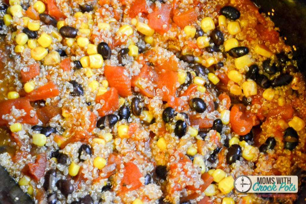 Enchilada Quinoa after cooking in slow cooker