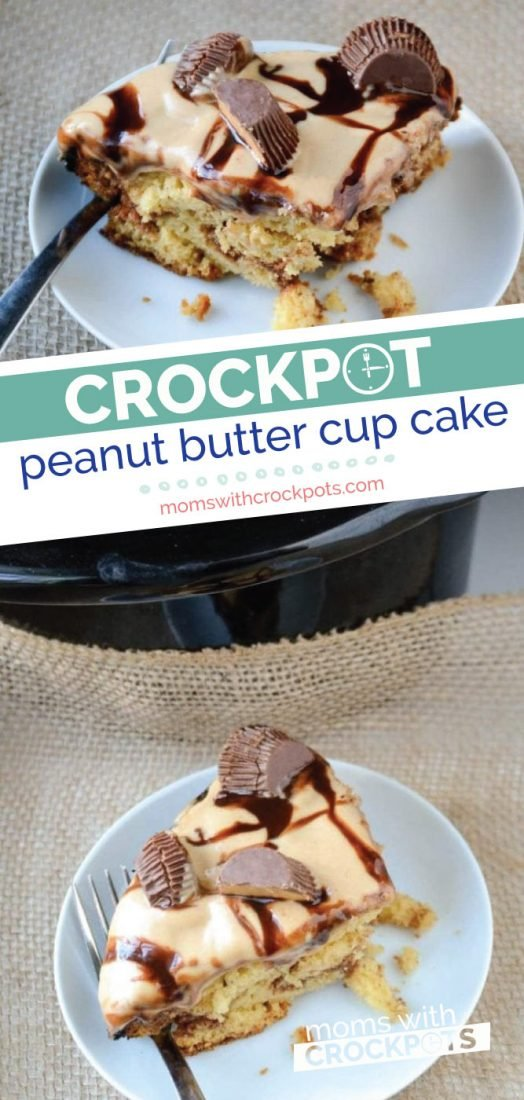 This is the holy grail of crockpot dessert recipes. You have to try this amazing Crockpot Peanut Butter Cup Cake Recipe!  #crockpot #slowcooker #dessert #cake #glutenfree #chocolate #peanutbutter