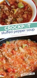 A quick and easy slow cooker dinner! Whip up a batch of this Crockpot Stuffed Pepper Soup Recipe! | @MomsWCrockpots #crockpot #slowcooker #soup #recipes #glutenfree #dairyfree