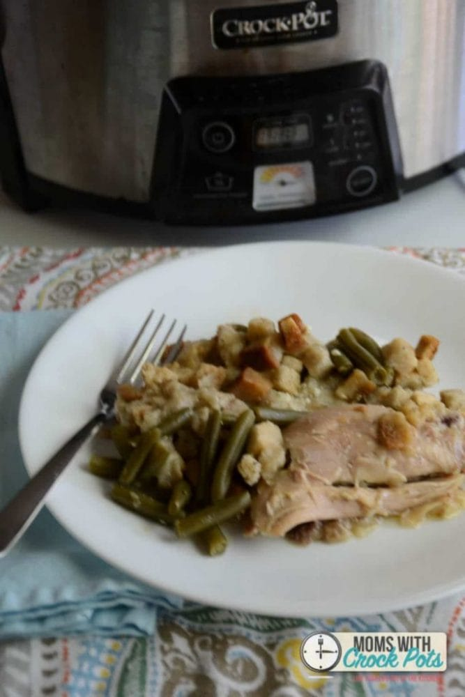 Amazing complete dinner in the crockpot! You have to try this yummy and easy Crockpot Chicken & Stuffing Dinner Recipe! Love that it is made without a can of cream of something soup!