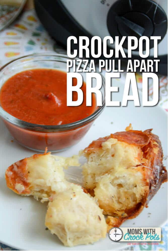 A delicious twist on pizza in the crock pot. Check out this yummy Crockpot Pizza Pull Apart Bread Recipe. Works as a dinner or an appetizer! YUM!