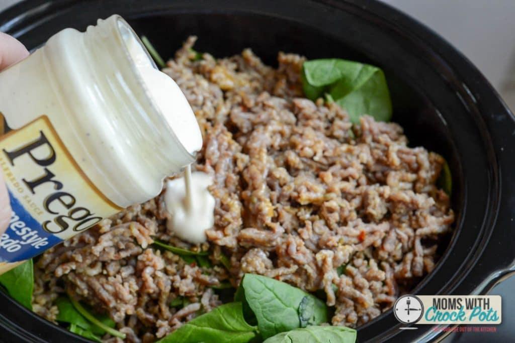 Crockpot Sausage Alfredo Pasta -1-5