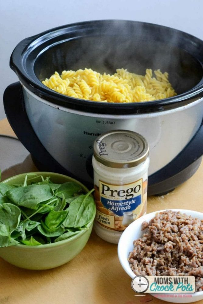 Crockpot Sausage Alfredo Pasta -1-6