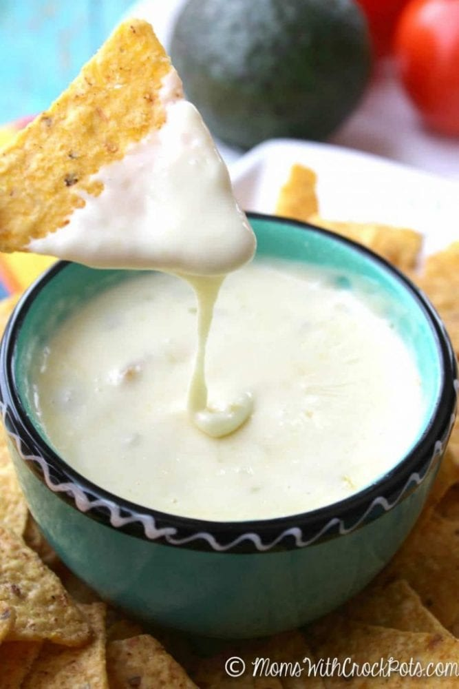 Game day, game night, or just because this Crockpot Queso Blanco Dip Recipe is always the perfect snack!