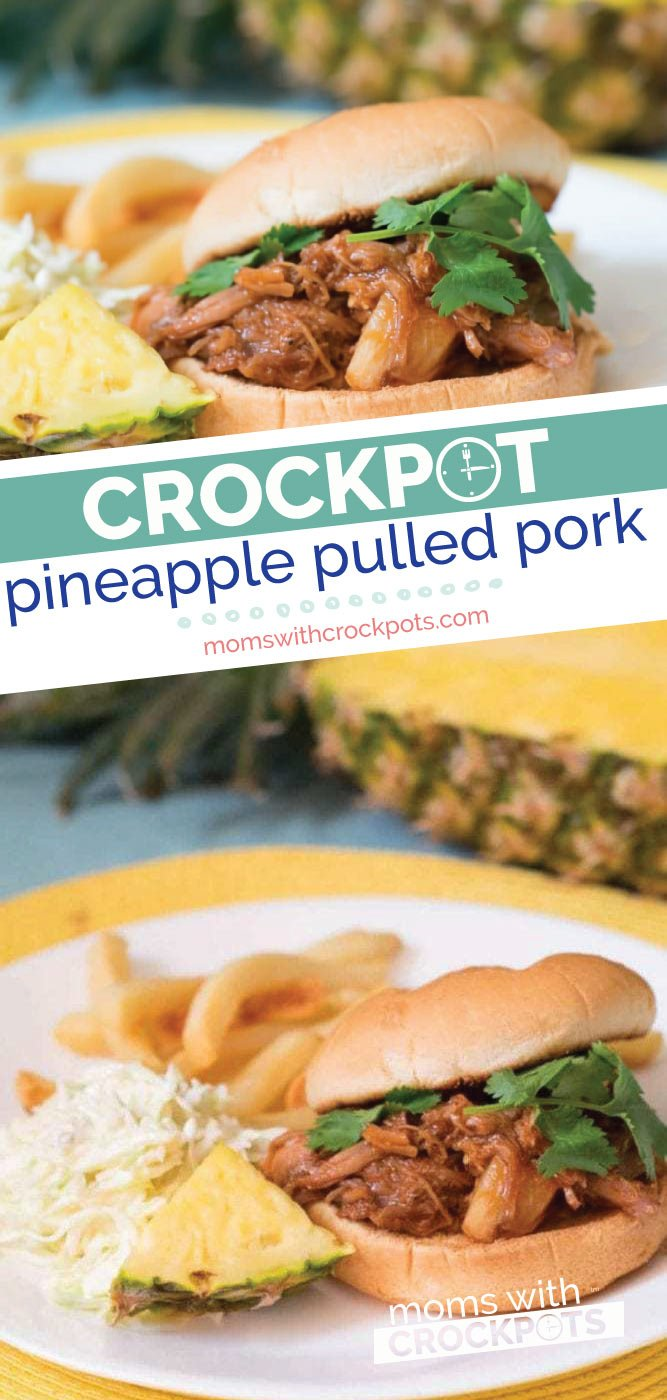 Pull out your slow cooker and throw in the ingredients for this savory and delicious Crockpot Pineapple Pulled Pork. Amazing on sandwiches, wraps, or rice bowls. | @MomsWCrockpots #recipes #crockpot #slowcooker #glutenfree #pork #dinner