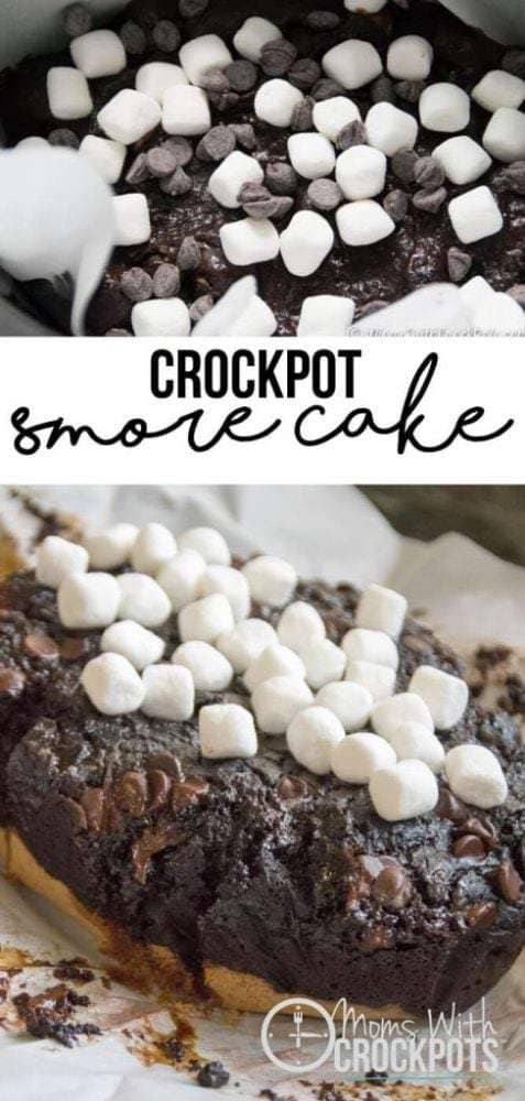 WOW! You have to make this once in your life! This Crockpot Smore Cake Recipe is unbelievably good!