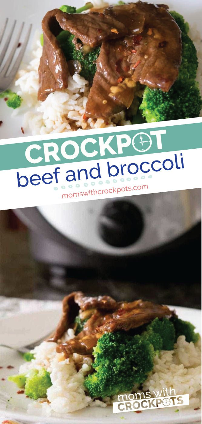 Simple to throw together, but oh so good. Everyone will want this Crockpot Beef and Broccoli Recipe! Better than take-out from your own slow cooker! | @MomsWithCrockpots #slowcooker #crockpot #dinner #recipes #beef
