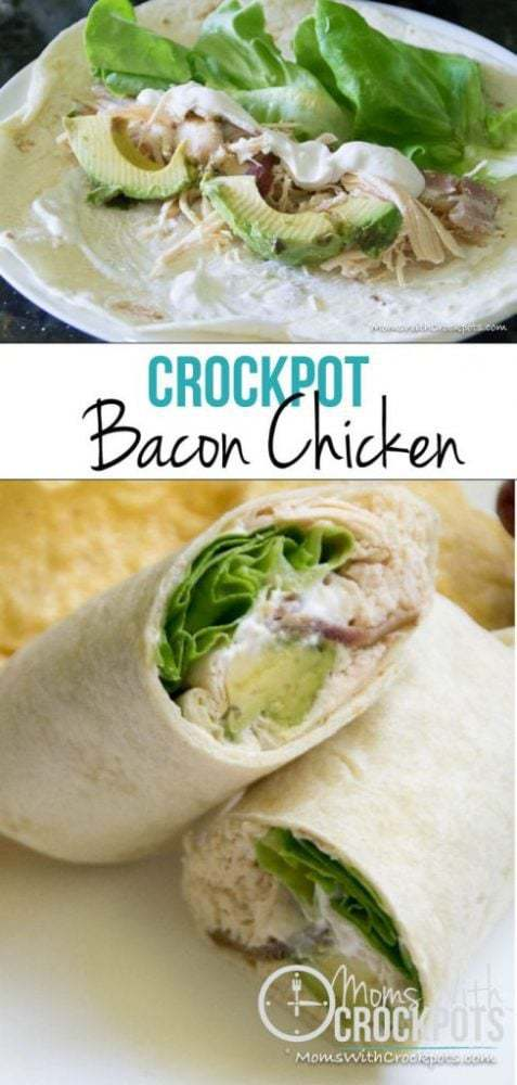 This is a keeper! This Crockpot Bacon Chicken Recipe is healthy and can be turned into several different meals! Cook once eat twice! Plus it is whole 30, paleo, gluten free, dairy free, you name it! YUM!