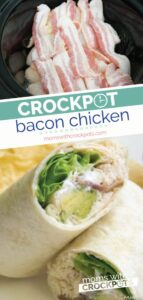 This is a keeper! This Crockpot Bacon Chicken Recipe is healthy and can be turned into several different meals! Cook once eat twice! Plus it is whole 30, paleo, gluten free, dairy free, you name it! YUM! | MomswithCrockpots.com #crockpot #slowcooker #chicken #recipe #glutenfree #keto #paleo #dinner