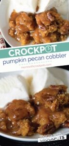 This recipe is so simple to make and marries pumpkin and pecan so beautifully it has to be made! You have never had anything like this Crockpot Pumpkin Pecan Cobbler. A must have for Thanksgiving. #thanksgiving #dessert #slowcooker #crockpot #recipe #pumpkin #pecan #glutenfree #dairyfree