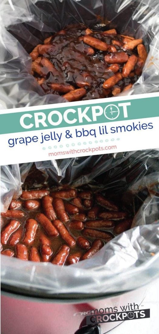 A slow cooker classic! Get this Crockpot Grape Jelly & BBQ Little Smokies Recipe! It's a keeper! #crockpot #slowcooker #appetizer #gameday #bbq #recipe