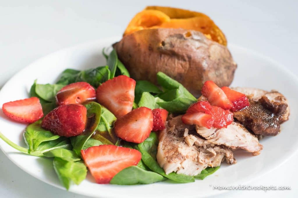 Looking for a healthy crockpot recipe to try?! Check out this simple Crockpot Strawberry Balsamic Pork Recipe! Plus you can throw in Baked Sweet Potatoes at the same time for a 2 for 1 Crock pot meal! Whole foods that taste great!
