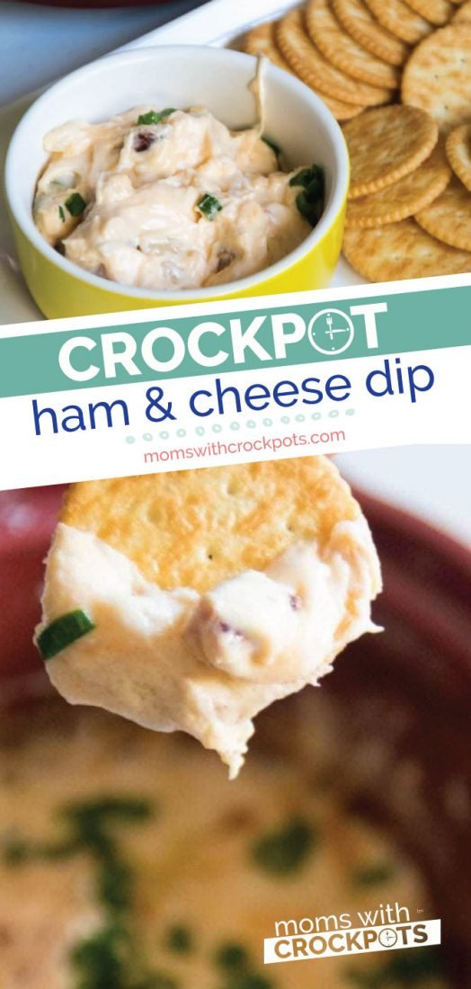 This is perfect for game day or any day! Check out this simple Crockpot Ham & Cheese Dip Recipe. Gotta love appetizers in the crock pot! | @MomsWCrockpots #crockpot #slowcooker #appetizer #recipes #ham #cheese #gameday