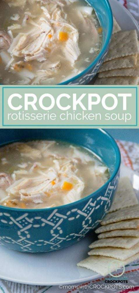 Don't throw way that leftover rotisserie chicken! Turn it into another meal with this simple Crockpot Rotisserie Chicken Soup Recipe