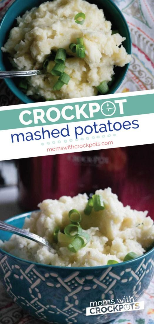 A simple solution to an everyday side dish! Check out just out simple this Crockpot Mashed Potatoes Recipe is. Pul out your slow cooker and dump them in! | @MomsWCrockpots #slowcooker #crockpot #recipes #sidedish #potatoes #holidays
