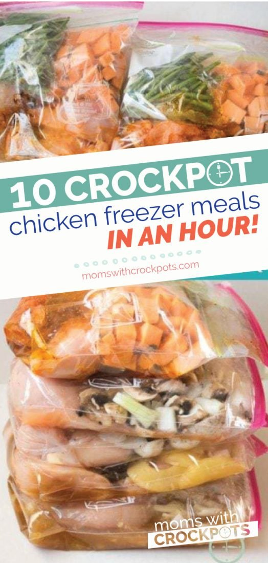 Do you love freezer meals? Find out how to Make 10 Crockpot Chicken Freezer Meals In An Hour! Gluten Free & Dairy Free Options too! Perfect for 21 Day Fix! | MomsWithCrockpots.com #freezermeals #crockpot #slowcooker #glutenfree #dairyfree #dinner #chicken