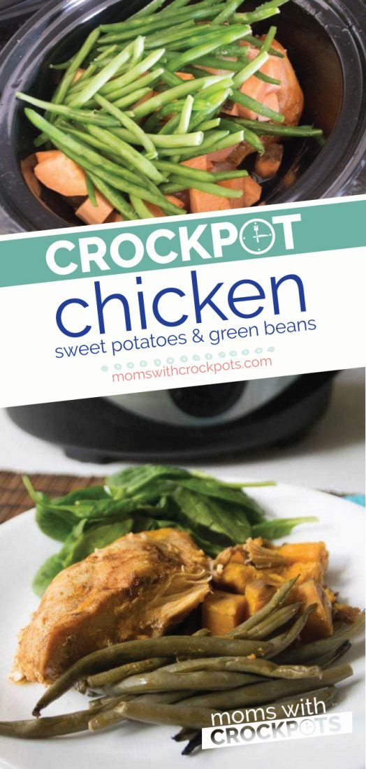 Make an entire meal right in your slow cooker! This yummy Crockpot Chicken, Sweet Potatoes, & Green Beans Recipe is healthy and delicious! @MomsWCrockpots #crockpot #slowcooker #recipe #healthy #chicken #dinner