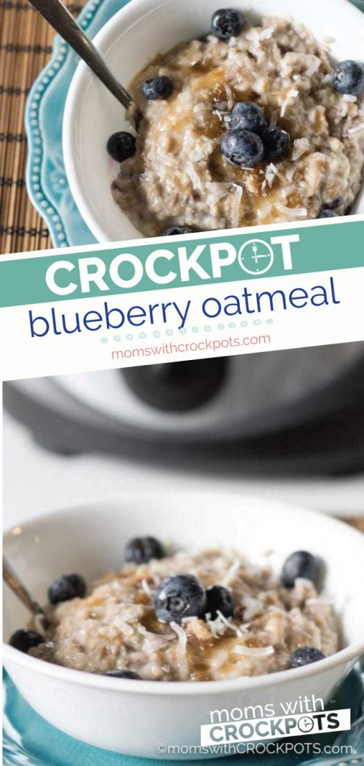 This yummy Crockpot Blueberry Oatmeal recipe gets started at night so you can wake up to a delicious slow cooker breakfast!